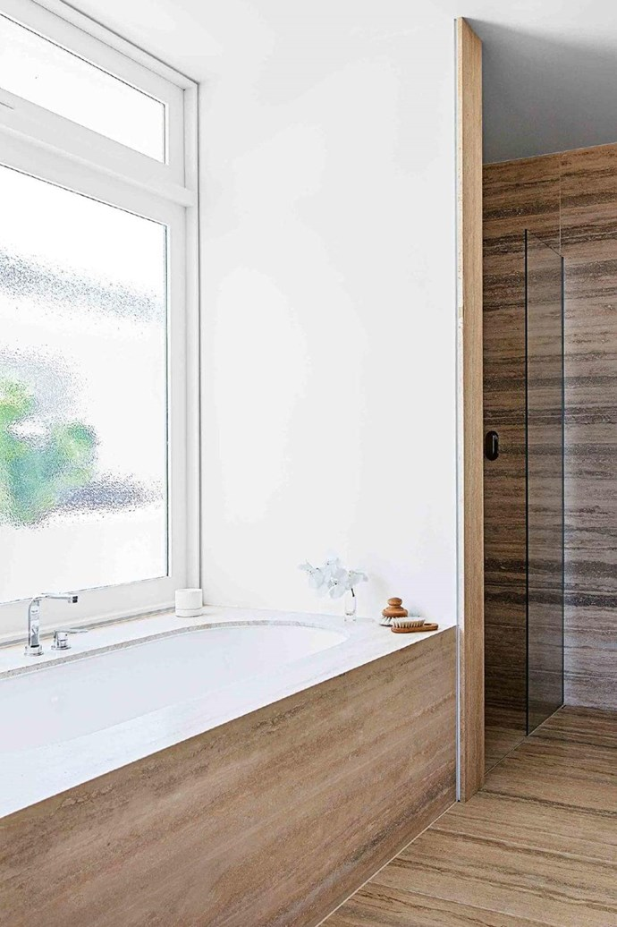 Timber look tiles give this bathroom a warm and soothing ambience. *Photographer: Anson Smart / Styling: Jono Fleming*