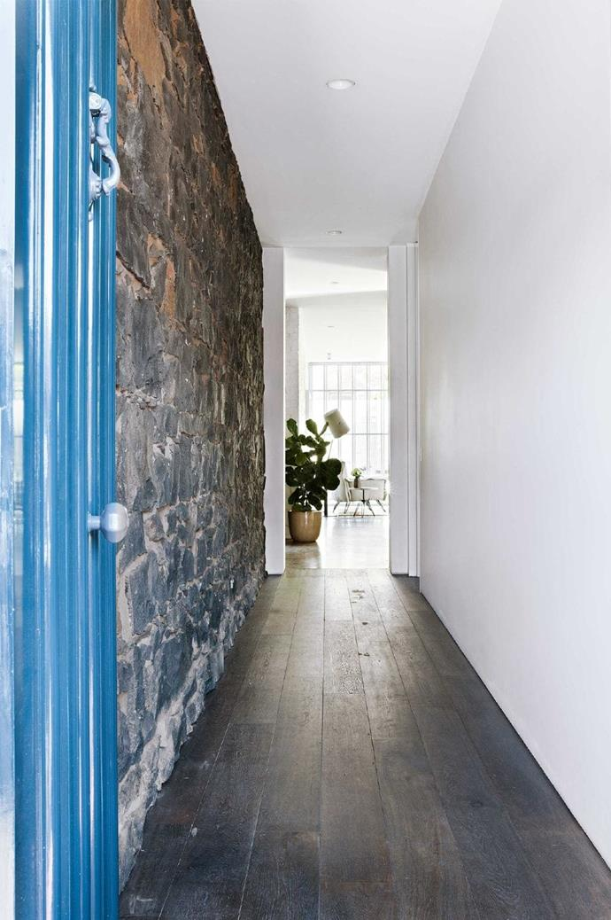 What the cottage lacked in size, it made up for in original stonework. Designer Hamish used the bluestone as the starting point to honour the front of the house throughout the renovation.
