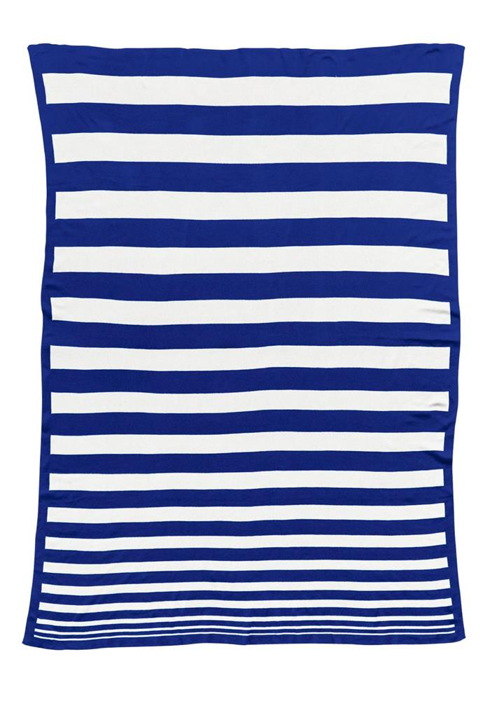 The nautical appeal of blue and white stripes is a must-have if you want to give your home a beachy feel. 'Original' blanket, $119, [Kate & Kate](http://kateandkate.com.au/)