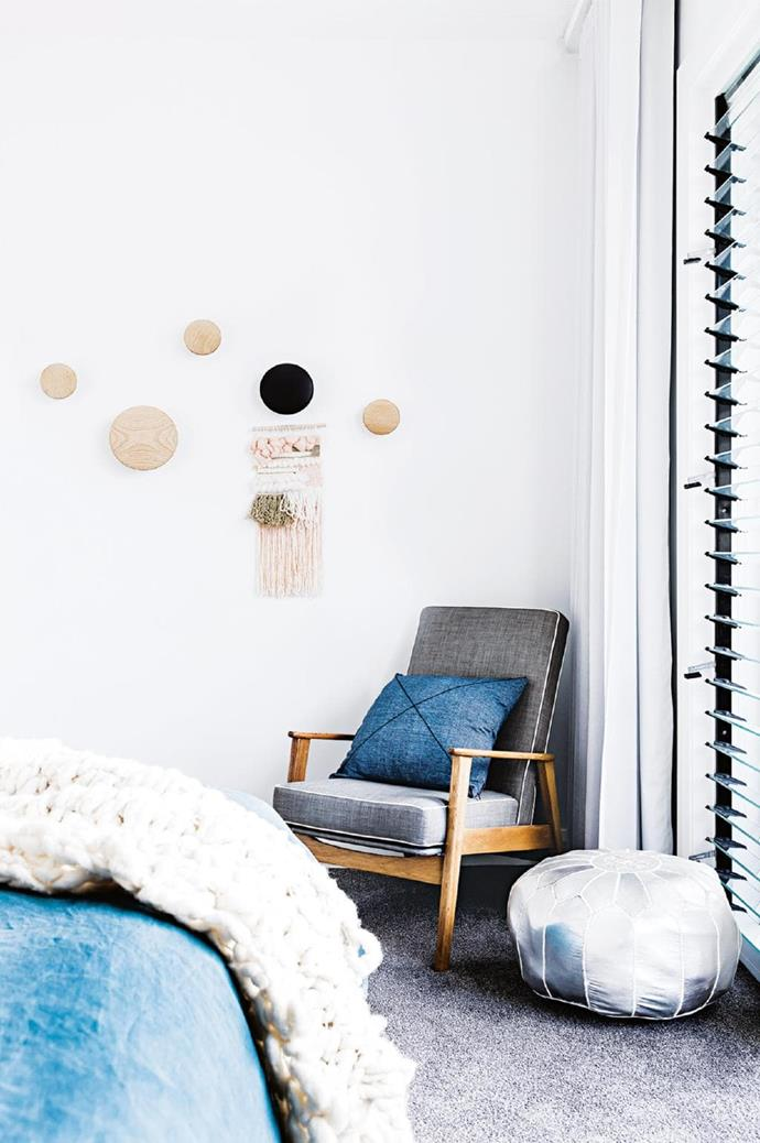 Master bedroom: [Muuto](https://muuto.com/) 'Dots' wall hooks and a [Plyroom](https://www.plyroom.com.au/) side table bring a fun and practical Scandi touch. The restored chair once belonged to Brooke's great uncle Stylist: Kerrie-Ann Jones, Photographer: Maree Homer