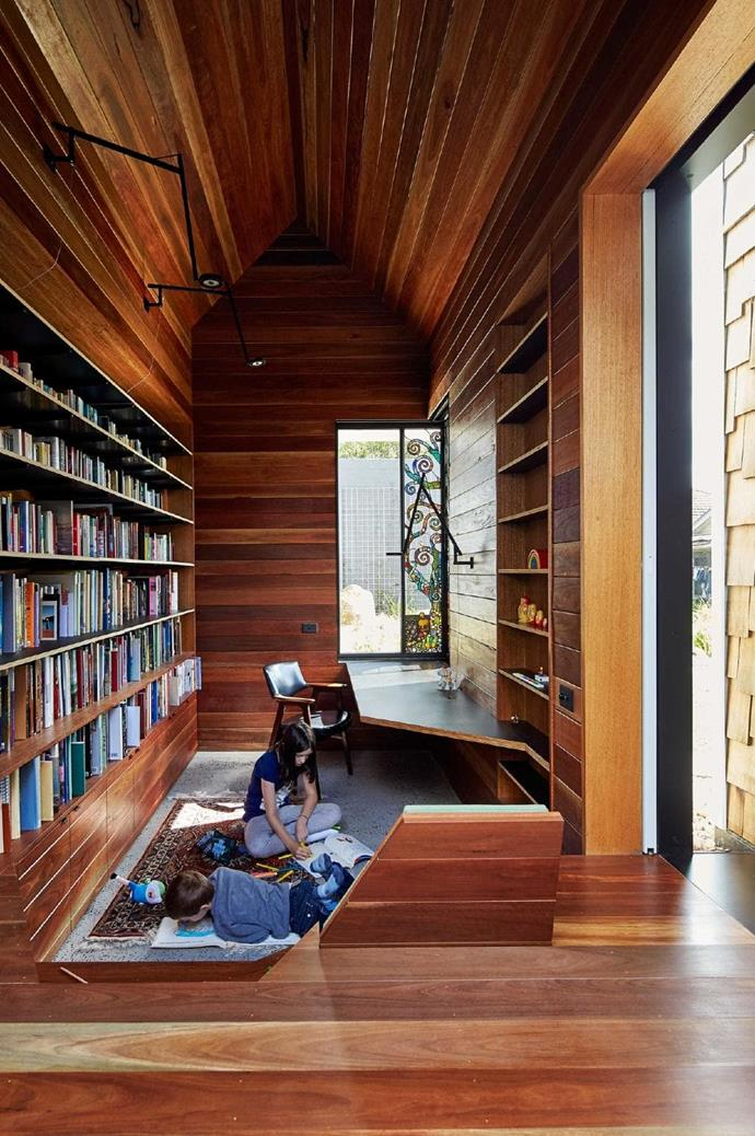 """But it's not only the boys that are afforded their own space for reflection. Their mum's [home library](https://www.homestolove.com.au/best-home-library-designs-3504