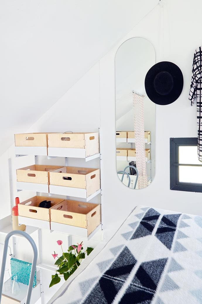 """""""What can be a lounge to one person can be a bedroom to another. In a tiny house, every space should have dual usage, if not triple,"""" says Clara da Cruz Almeida, the architect of the project. [Read the full story here](http://www.insideout.com.au/renovations/house/little-beauty-this-eclectic-home-takes-up-just-17-square-metres/news-story/f501fa9a8bf23f2e22921d1acc61e2f1). _Photography by Greg Cox_ Photographer: Greg Cox"""