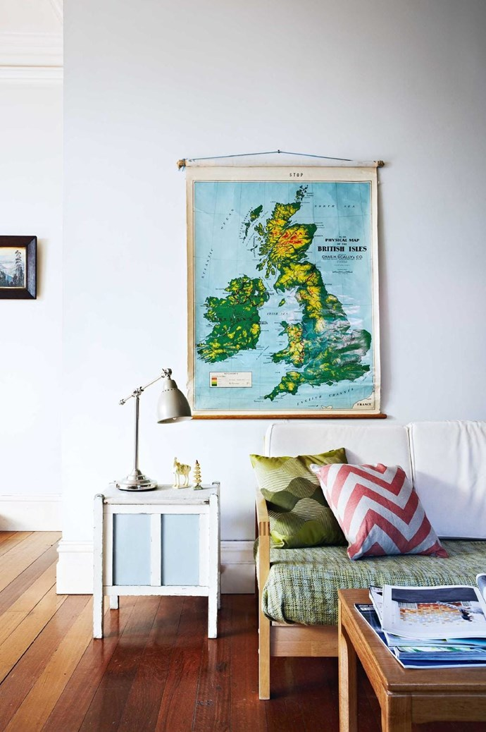 A hanging map adds texture, colour and history to your room Stylist: Julia Green, Photographer: Armelle Habib