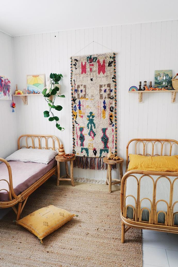 "**Make the connection: a seamless extension** When planning a kid's room, it can be tempting to choose soft, fluffy items with very short use-by dates. One way to ensure your kids' spaces will remain relevant after they've outgrown the baby phase (and perhaps even graduated to the tweens!) is to allow your home's existing style to influence their space, including art, furniture, the colour palette and soft furnishings. It may be a case of hanging similar artworks to what appears in your living space, or carrying on a vintage theme. Ensure that your kids' personalities can shine through, perhaps in the bedding, toys or books they choose to display. Stylist: [Bohannah Gerritsen](https://www.instagram.com/thesimplefolk_/|target=""_blank""
