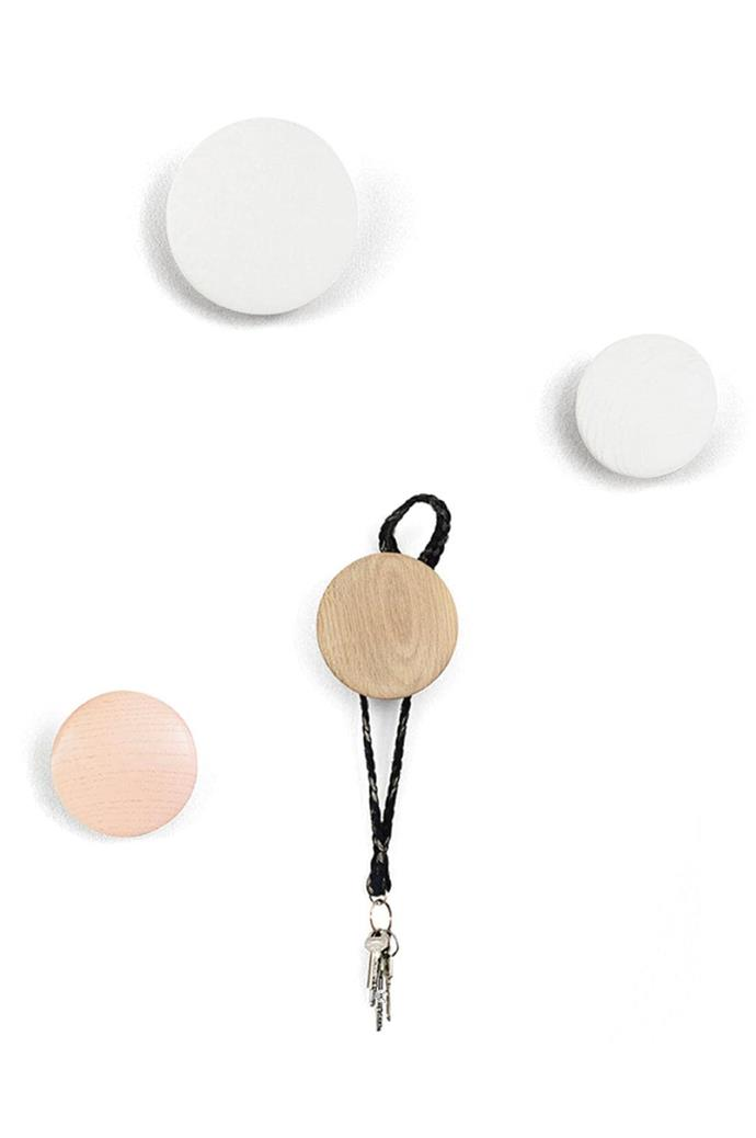 """Muuto 'The Dots' wall hooks, from $179/assorted set of 5, [Surrounding Australia](https://surrounding.com.au/the-dots-white/