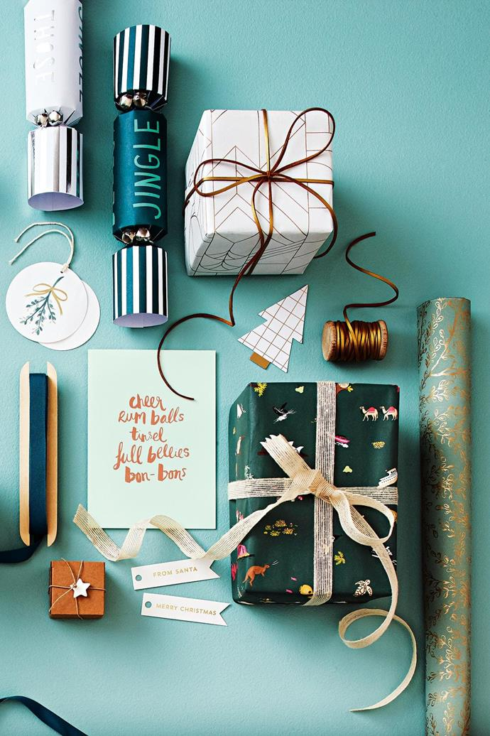 <b>Green, gold &amp; white</b> Sage, pistachio and forest shades have made their mark this year. Pair these tones with clean white and glimmering gold.  <b>Products</b> Meri Meri 'Jingle Bells' Christmas crackers, $45/assorted box of 6, Papier D'Amour. House Doctor leather ribbon in Gold, $9.95/5m roll, Milligram. 'Deco Quartz' paper, Vandoros. 'Joy' white &amp; gold tree gift tag, $12.95/assorted pack of 12, Kikki.K. 'Harmony Eucalyptus/Gold' wrapping paper and natural woven ribbon, Vandoros. Rifle Paper Co. 'Icons of Australia &amp; New Zealand' wrapping sheet, $7.95, Milligram. Letterpress Christmas flag tag in Gold on White, $8.95/assorted pack of 10, Inky Co. Boxed star garland, $48/set of 15 stars, Paper Boat Press. 'Favourite Things' Christmas card, $6.95, Blushing Confetti. Hay gift ribbon in Dark Green, $14/10m, Cult. 'Mistletoe' gift tags, $3.90 each, Citt&agrave;. Background in 'Clean &amp; Protect' low sheen interior paint in Reckless Green, $62.50/4L, British Paints.