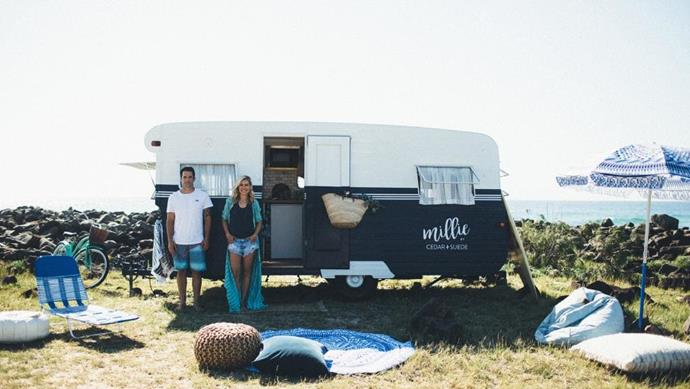 The Block's Michael and Carlene are keen campers, which led them to their latest renovation project; a caravan.