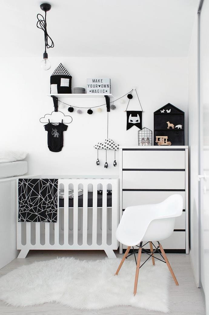 **Small-space solutions: fit all the basics, even in a smaller room** Ever seen a 'must buy' list for a baby's nursery? You'd be forgiven for thinking you need an additional three rooms just to house it all. The reality is, with some space-saving hacks, you can fit everything you need with ease. Multitasking furniture is essential, such as a cot with attachments that allow you to also use it as a change table and even a bath. Shelves are a lifesaver, making the most of bare walls to keep clutter tucked away. A monochrome palette will visually expand your space, with the black accents adding depth. _Photography by Juta Kubarsepp, [Living 4 Media](https://www.living4media.com.au/)_.