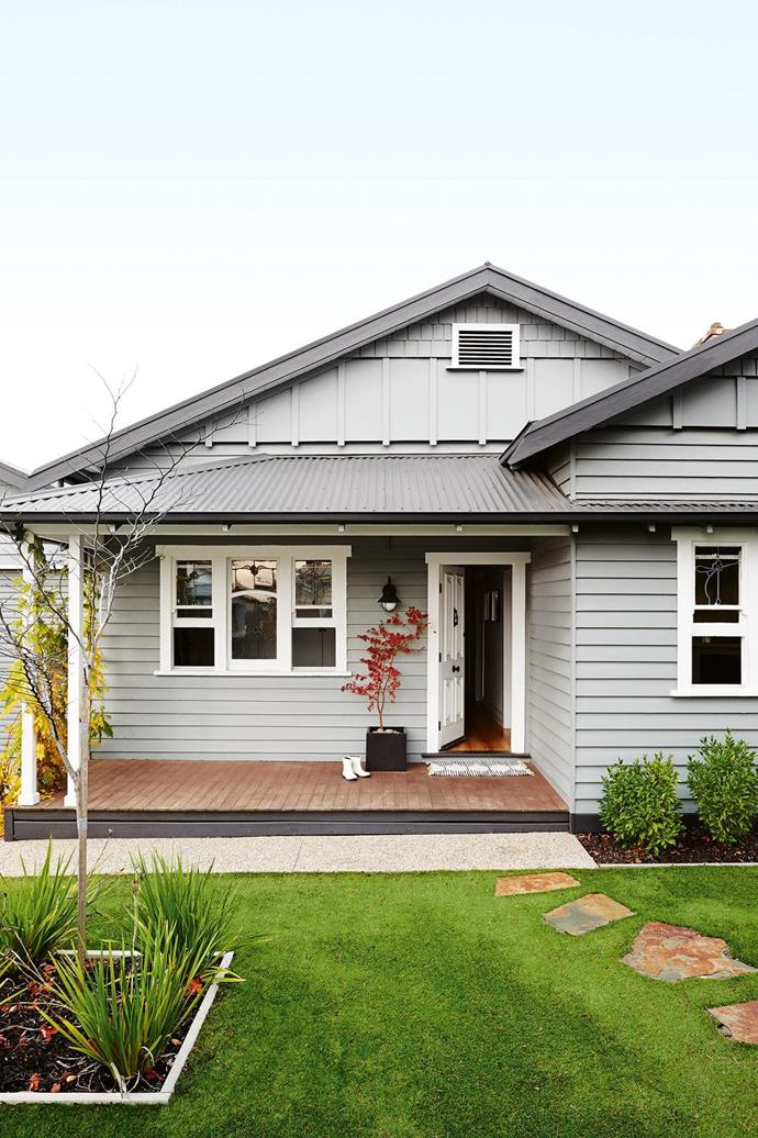 **Exterior**The home is given a modern face-lift courtesy of Dulux Colorbond paint in Windspray, with trims and eaves in Monument. [Read the full story here](http://www.insideout.com.au/renovations/house/this-californian-bungalow-in-victoria-was-lovingly-refreshed/news-story/1ff80a7759649bff4db54980b65d85ce). _Styling by Julia Green with assistance by Georgie Fitzgerald and Emily Evans. Photography by Annette O'Brien_.