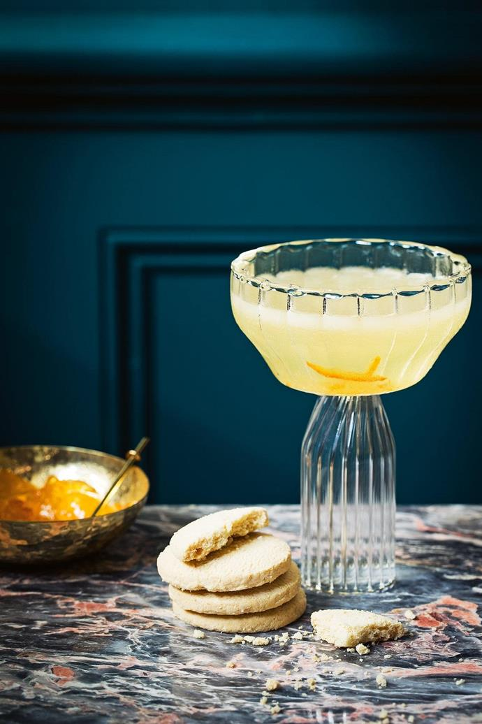 **Grandma's orange and marmalade martini** [Get the recipe here](http://www.insideout.com.au/home-style/new-traditional/4-cocktail-recipes-to-add-to-your-entertaining-repertoire/news-story/731d5bde95e2d6633397f24601ca80d6). **Products** Hammered brass bowl, $35, Zakkia, zakkia.com.au. Salt and pepper spoon, $28/pair, Marble Basics, marblebasics.com.au. Fferrone 'Margot' champagne coupe, $185/pair, Becker Minty. 'Pink Jaguar' marble, POA, Euro Natural Stone, euronaturalstone.com. _Food styling by David Morgan, styling by Jono Fleming and photography by Jeremy Simons, with styling assistance form Romain Dossou-Yovo_ Stylist: Jono Fleming and David Morgan, Photographer: Jeremy Simons