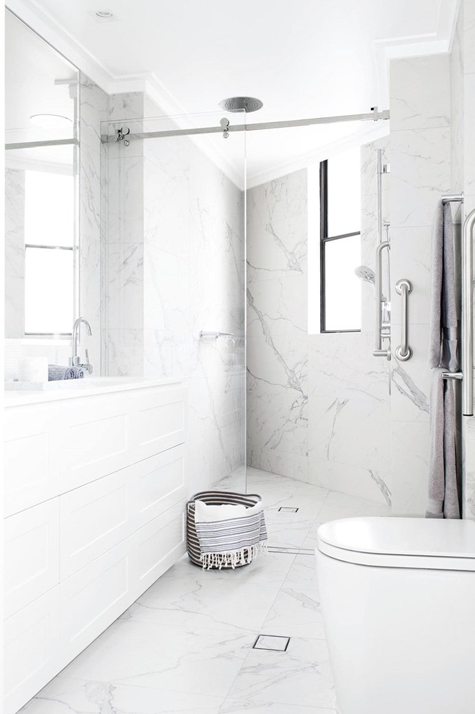 """Floor to ceiling [marble surfaces](https://www.homestolove.com.au/trend-alert-faux-marble-4063