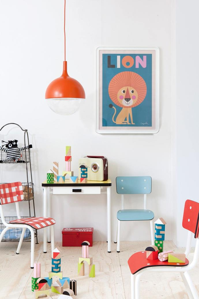 **Retro playroom: nostalgia meets primary colours for a fun space** If the thought of a plastic-filled room sends shivers down your spine, consider upcycling. Lovingly restored wooden seats and a lick of paint on an old table will create a playful look the kids will love, but that won't assault your senses. Grandparents can be an untapped source for furniture in need of a new life, and the added sentimental element won't be lost while watching your children play with the items that might have come from your childhood bedroom. If you're game, allow the kids to help in the sanding and painting of the new-old pieces. _Artwork: OMM Design_ Lion _poster, [Leo & Bella](https://leoandbella.com.au/). Photography: Gonkel/Stegeman, [Living 4 Media](https://www.living4media.com.au/)_.