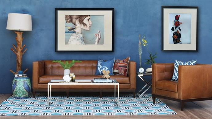 Refresh the look of your feature wall by matching the wall colour with a colour from a bold patterned rug. 'Hex Blue' outdoor rug, $290, [ECOCHIC](https://www.ecochic.com.au/hex-blue-outdoor-rug/).