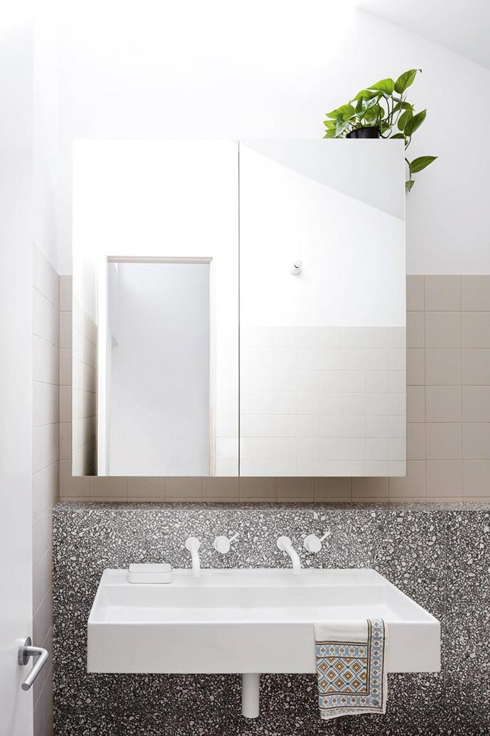 "[Terrazzo is one of the hottest bathroom trends](https://www.homestolove.com.au/4-reasons-terrazzo-is-the-latest-bathroom-trend-15571|target=""_blank"") and with a vanity like this we can see why!"