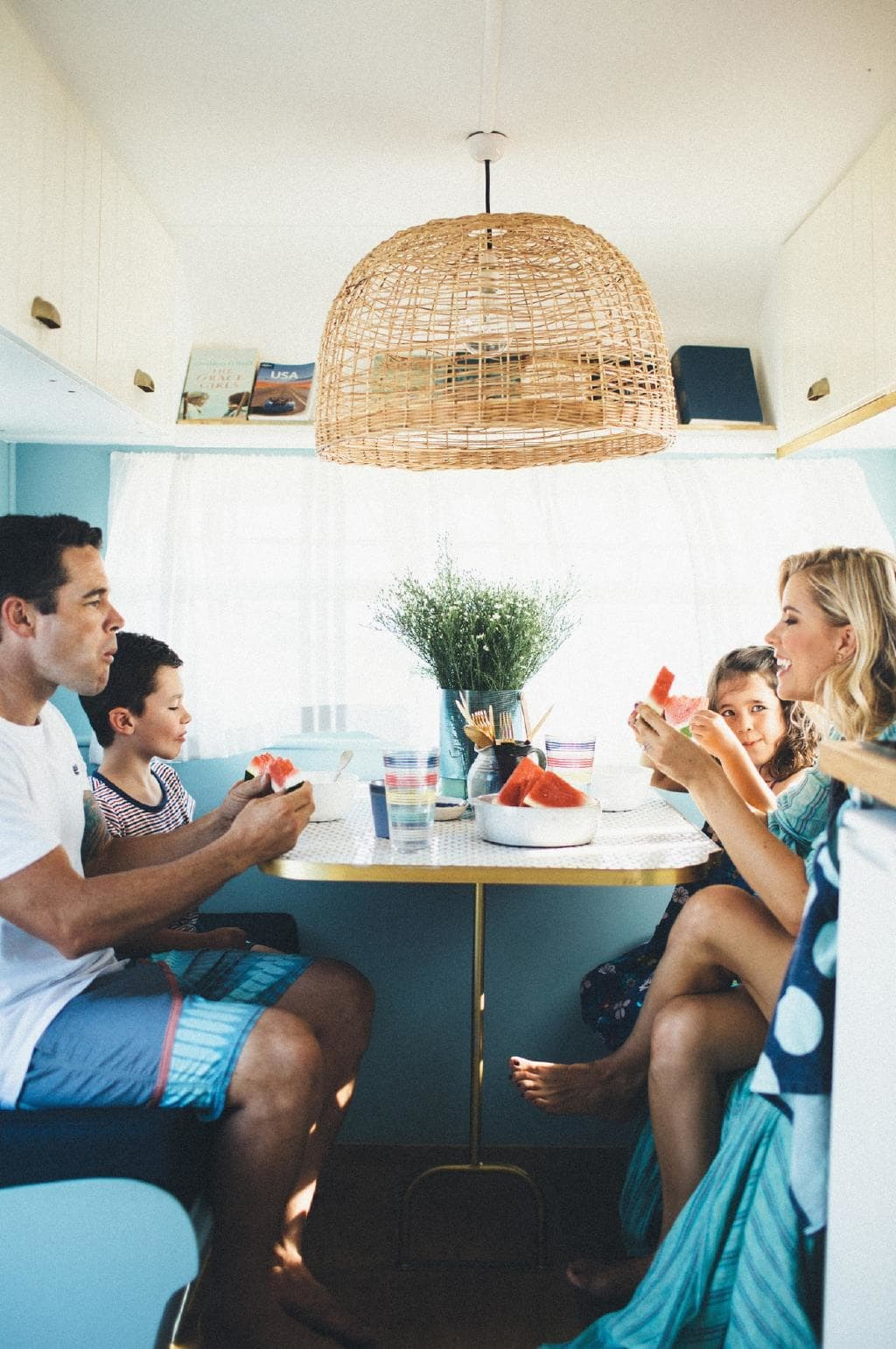 "A glimpse inside a [vintage caravan renovated](https://www.homestolove.com.au/6-inspiring-caravan-renovations-18961|target=""_blank"") by Michael and Carlene. *Photo: Carly Brown photography*"