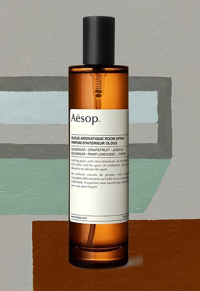 Olous: Named after the ancient, sunken Grecian city, the [Olous aromatique room spray](https://www.aesop.com/au/olous-aromatique-room-spray.html) combines green plants and citrus botanicals with touches of cedar and the spice of cardamom.