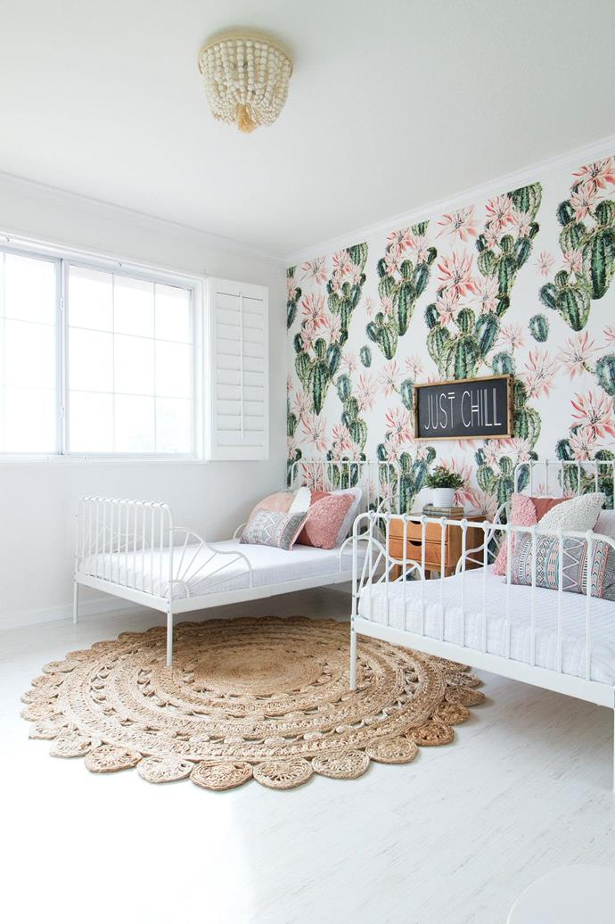 **Palette perfection: select a colour to follow through the space** Kids' rooms can be many things – messy, a mismatch of themes, a confusion of colour. To ensure a considered look, give the kids a chance to pick their favourite colours, then tone it down to suit the overall look of your home. If neutral is your preference, plain bedcovers and natural floorcoverings are a clever choice. To avoid overwhelming the space, choose one area to play up, such as a feature wall or shelving display. Opt for graphic wallpaper or a painted pattern and build the rest of the room around it. Keep window coverings plain and steer clear of multicoloured clutter. **Tip** Go for bed frames that are neutral in colour. They can easily switch into a newly themed room later on. _Photography and styling: Melanie Raver, [Rave Interior Design](http://www.raveinteriordesign.com/)_.