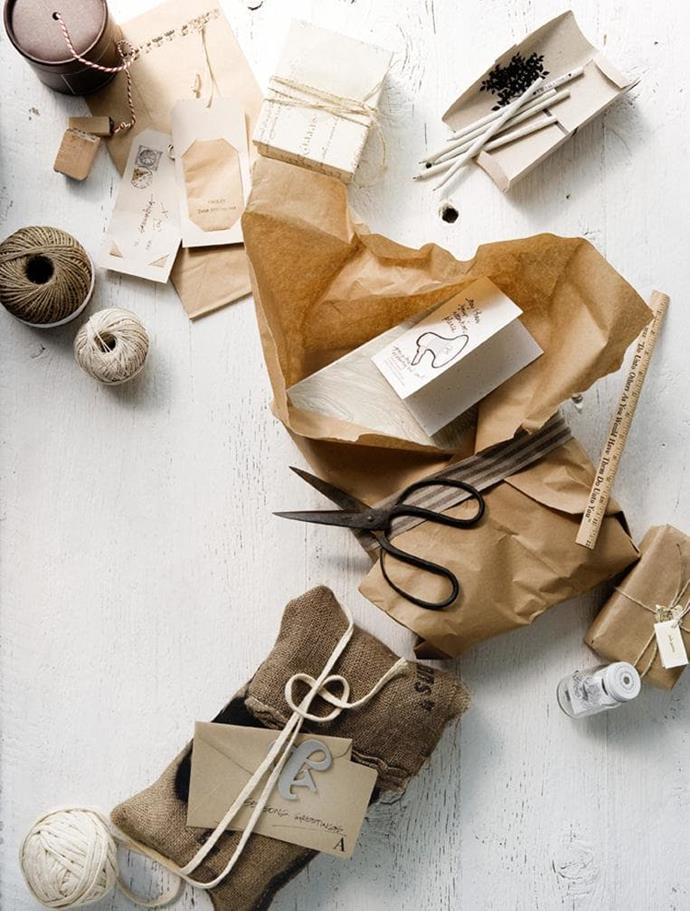 Recycled materials and earthy colours create a raw and understated effect. Gift tags with personalised inscriptions complete the bespoke charm Photographer: Sam McAdam-Cooper, Stylist: Glen Proebstel