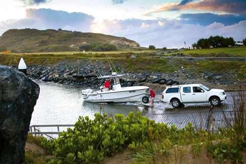Launching a Contender 23 Open at boat ramp