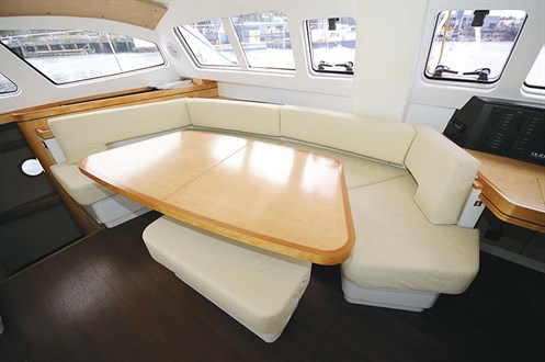 Table in Outremer 49 sailboat