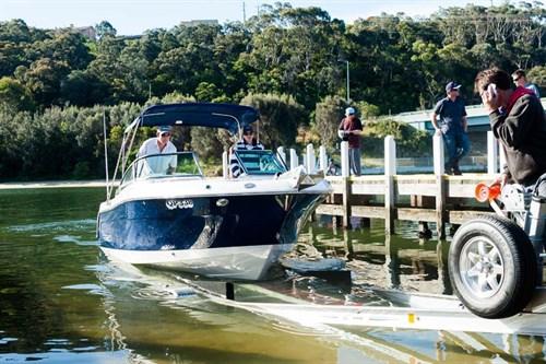 Robalo R227 at boat ramp