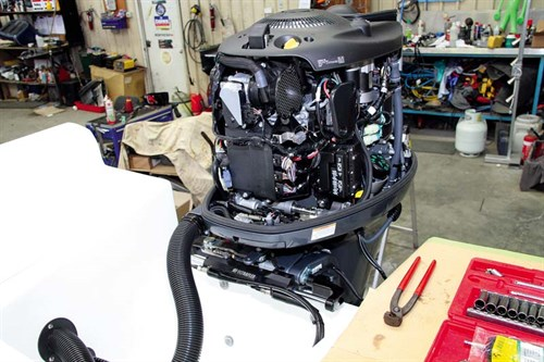 Yamaha 200hp outboard with open cowling