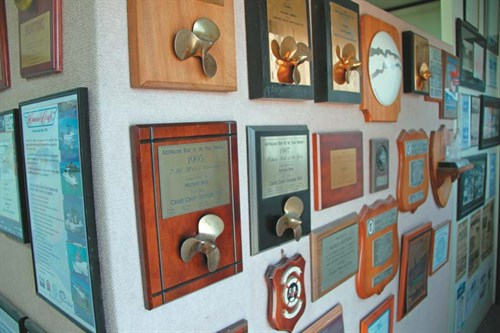 Cruise Craft awards wall