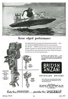 British Anzani outboard July 1957