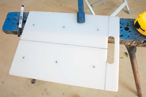 rod rack dimensions marked on board