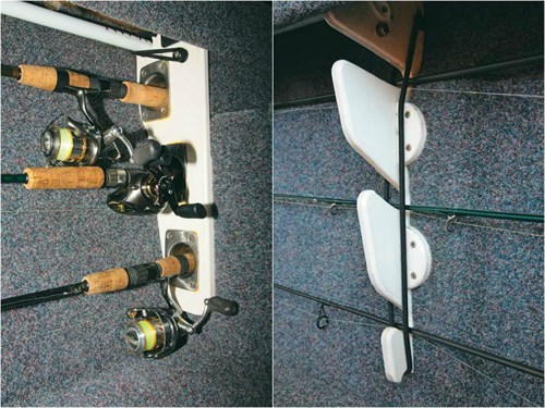 DIY rod racks fitted to a boat
