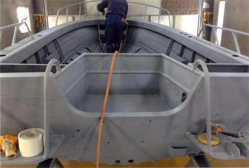 Quintrex project -boat paint primed interior