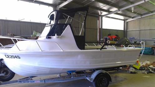 New bimini on Quintrex project boat