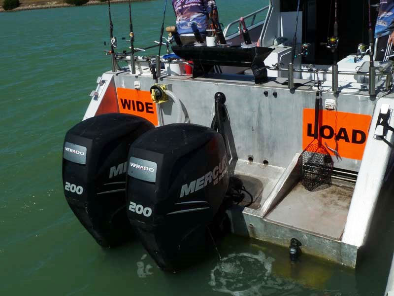 Twin 200 hp Mercury Verado outboards