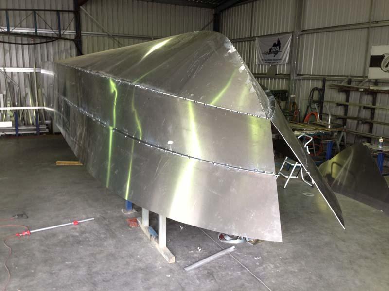 Commercial aluminium hull ready for welding