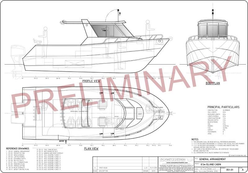 Pelagic fishing boat plan layout
