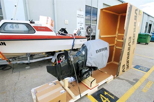 200hp Evinrude E-TEC in crate