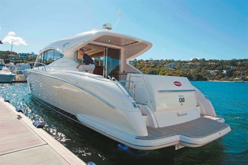 Big luxury boat in marina.