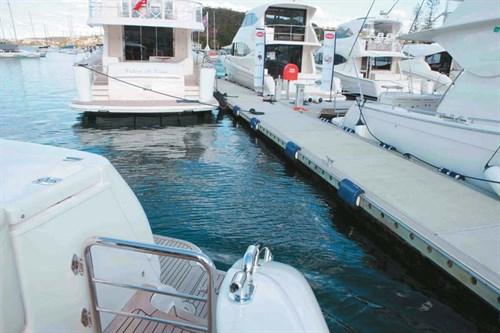 Docking at marina.