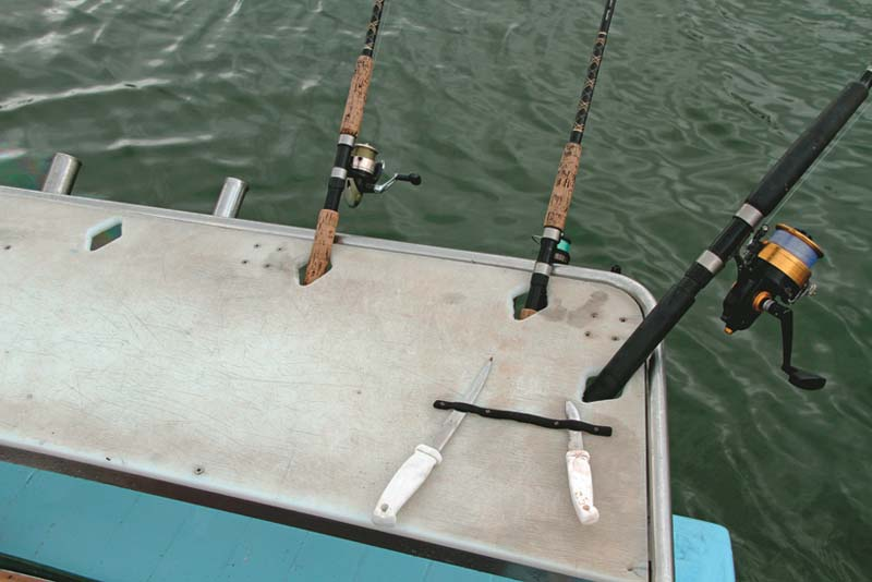 Diamond shaped cutouts in bait board to hold fishing rods