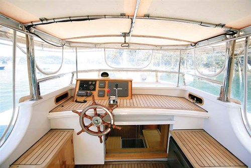 Helm of 1963 Clem Masters Bridgedeck Cruiser