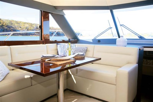 L-shaped lounge on Maritimo S48