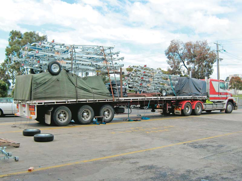 New boat trailers leaving factory