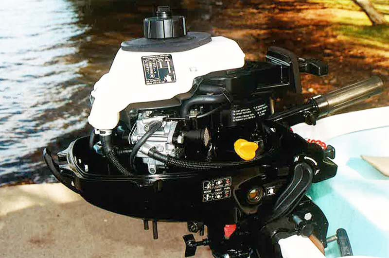 Interior of Mercury 2.5 portable four-stroke engine