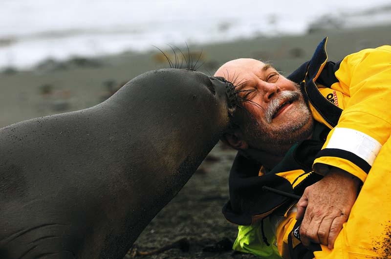 Don lying next to a seal