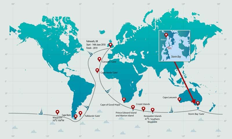 Golden Globe solo race around the world map