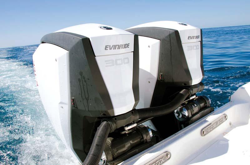 Twin 300hp Evinrude E-TEC G2 outboards