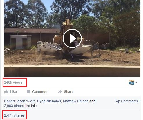 Fisheries Qld number of views of tinnie crushing video