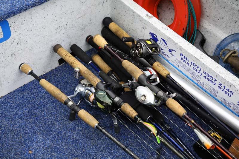 Fishing rods in open boat