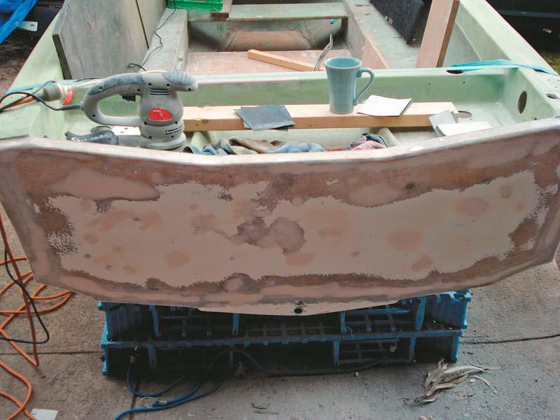 Restored transom on Savage Avalon boat