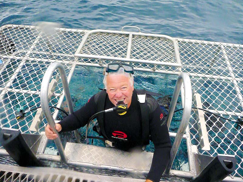Diver emerging from shark dive cage